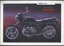 Genuine BMW R80 (1992) FOLLETO de ventas de concesionario 800 Boxer Doble R 80 Airhead