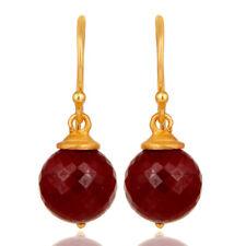 Amazing Ruby Dangle Hook Earrings For Womens 925 Silver Gemstone Jewelry