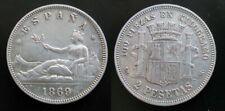 GOBIERNO PROVISIONAL , 2 PESETAS DE 1869 ESTRELLAS 18 - 69 . PLATA