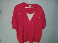 Koret Francisca womens red 3x blouse, blouse, casual dress blouse