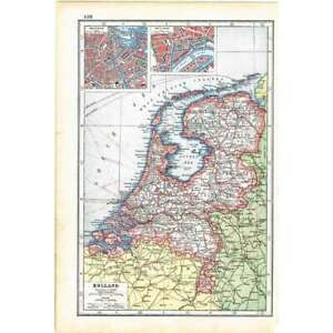 Antique Map 1920 - Holland and Town plans of Amsterdam and Rotterdam