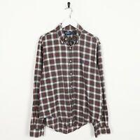 Vintage RALPH LAUREN Small Logo Long Sleeve Check Shirt Beige Red | Medium M