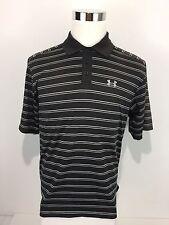 Under Armour Men's Medium Polo Shirt Striped Black Multicolor Embroidered Rare