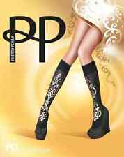 Pretty Polly PP'Baroque' Embellished Black/Gold Knee Highs (One Size) $25