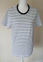 Burton Menswear Mens White Striped T Shirt Size M <CX6684