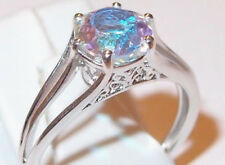 2.25ct Mercury Mystic Topaz solitaire, platinum overlay Sterling Silver, Size Q.