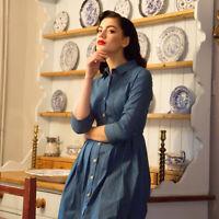 Lindy Bop 'Charlotte' Light Denim Vintage Shirt Dress BNWT Sz 18