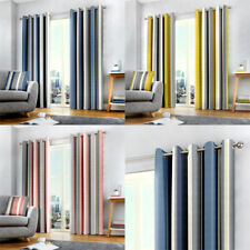 Fusion Whitworth Stripe Eyelet Lined Curtains