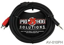 10ft PigHog Stereo Breakout Cable, 3.5mm Stereo Male to Dual RCA Male, AV-010PH