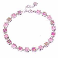 Pink Fire Opal Pink Topaz Silver for Women Jewelry Gemstone Chain Bracelet OS373