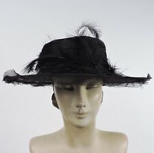 ANTIQUE EDWARDIAN WIRED HORSE HAIR LARGE BRIM HAT W FEATHERS FOR DRESS
