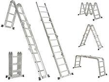Multi Purpose 15.5 Foot Aluminum Alloy Heavy Duty Scaffold Ladder Foldable New