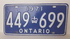 """Ontario License Plate 1971 """"449 699"""" Canada Vintage Metal Car Garage Sign"""