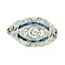Antique Art Deco Platinum 1.29ctw European Diamond & Sapphire Filigree Band Ring