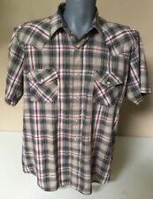 Sheplers Mens Pearl Snap Shirt Size L  Short Sleeve Plaid Western Cowboy       F