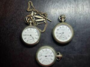 Lot of 3 Pocket Watches, 2 Elgin and 1 Hampton