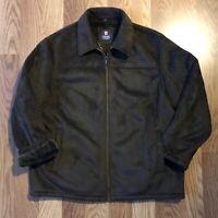 Ralph Lauren Vintage Chaps Men's Coat Suede Outer Faux Fur Lining Brown XXL