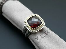David Yurman 11mm Albion Ring Garnet and Diamonds with 18K Gold size 7
