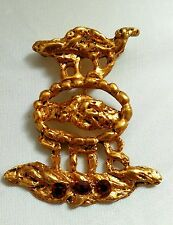 JACQUES LIPCHITZ Brooch Pendant Pin Red Rhinestones Textured Gold tone-Signed