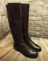 Womens Clarks Marquette Silk Brown Leather Zip Up Low Heel Knee High Boots UK 3