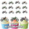 PRECUT Motocross 12 Edible Cupcake Toppers Party Decorations Boys Mens