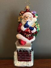 2002 Christopher Radko Secret Santa on Chimney Glass Ornament ~ Retired