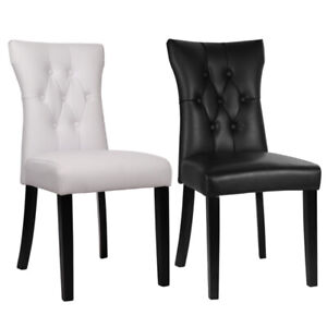 Modern Faux Leather Dining Chairs Set of 2 High Back Seat Kitchen Room QDZH01645