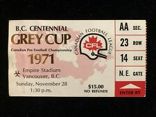 1971 CFL GREY CUP TICKET STUB CALGARY STAMPEDERS v TORONTO ARGONAUTS @ VANCOUVER
