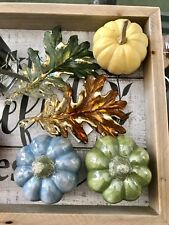 NEW BATH & BODY WORKS GLITTER OAK LEAF, Pumpkin MAGNET LARGE 3 WICK CANDLE DECOR