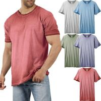 Mens Basic T Shirt Oil Wash Vintage Short Sleeve Soft Faded Crew Neck Tee Casual