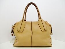 Auth TOD'S D-Bag Beige Brown Leather Handbag