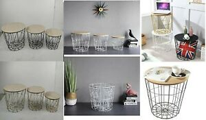 Retro Black Metal Wire Round Wood Top Storage Side Table Basket Home Furniture