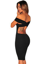 Ladies Black Bodycon Off the shoulder backless Criss cross Party Mini  Dress 10