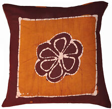 "Indian Cotton 16"" Handmade Batik Cushion/Pillow Cover Floral Sofa Throw Decor"