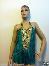 T-Bags Los Angeles Gold & Sapphire Embellished Jersey Cami Top