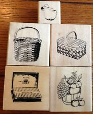 Lot Of 5 Anita's Rubber Stamps Baskets Fruit Cigars Apple Picnic