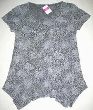 FRESH PRODUCE Small Oyster Gray BATIK Flower Vintage Drape Top NWT New S