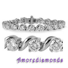 "5 ct round ideal cut natural diamond s-link tennis bracelet 14k white gold 7"""