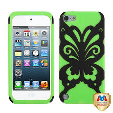 Black Lime Skin Butterfly Hybrid Dual Layer Apple ipod Touch 5 5G Cover Case