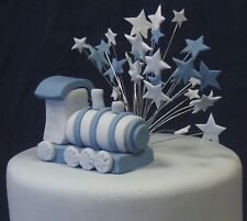 Handmade wired BLUE & PALE BLUE wired STAR cake topper