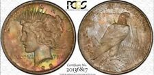 Rare Rainbow Toned 1923 Peace Dollar PCGS MS64
