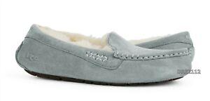 UGG Ansley Light Grey Suede Fur Slippers Womens Size 7 *NIB*