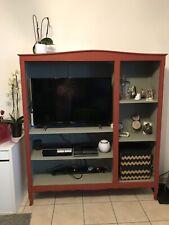 Meuble TV en chêne peint en rouge PRIX À DISCUTER !
