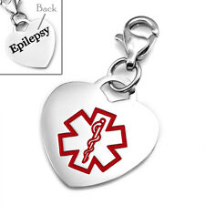 Epilepsy Stainless Steel Medical Alert Heart Charm 3/4 Inch - CR1942