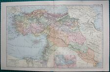 1901 LARGE VICTORIAN  MAP- TURKEY IN ASIA,INSET SMYRNA