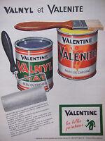 PUBLICITÉ DE PRESSE 1962 PEINTURES VALENTINE VALNYL MAT VALENITE - ADVERTISING