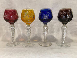 """Set of 4 NACHTMAN TRAUBE CORDIAL GLASSES Cut To Clear, Multicolor, 5.25"""" Tall"""