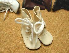 "DOLL Shoes, SLIM  58mm CREAM Boots fit 14"" Kish, Flat Foot Cissy"