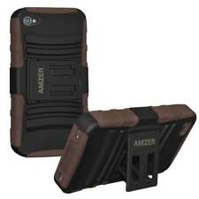 AMZER BLACK/BROWN RUBBER SOFT HARD CASE WITH KICKSTAND FOR APPLE iPHONE 4 4S
