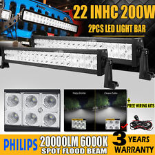"""2x 22INCH 200W PHILIPS LED LIGHT BAR SPOT&FLOOD OFFROAD 4X4WD FORD PICKUP 20""""24"""""""